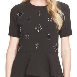 Kate Spade Black Embellished Ruffle Top